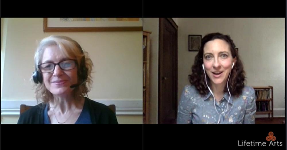 Screenshot of Lifetime Arts' Annie Montgomery and Julie Kline having a conversation.