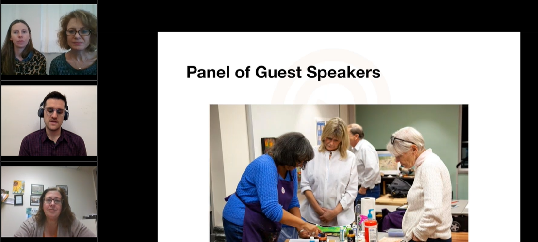 Screenshot of presenters during a webinar.