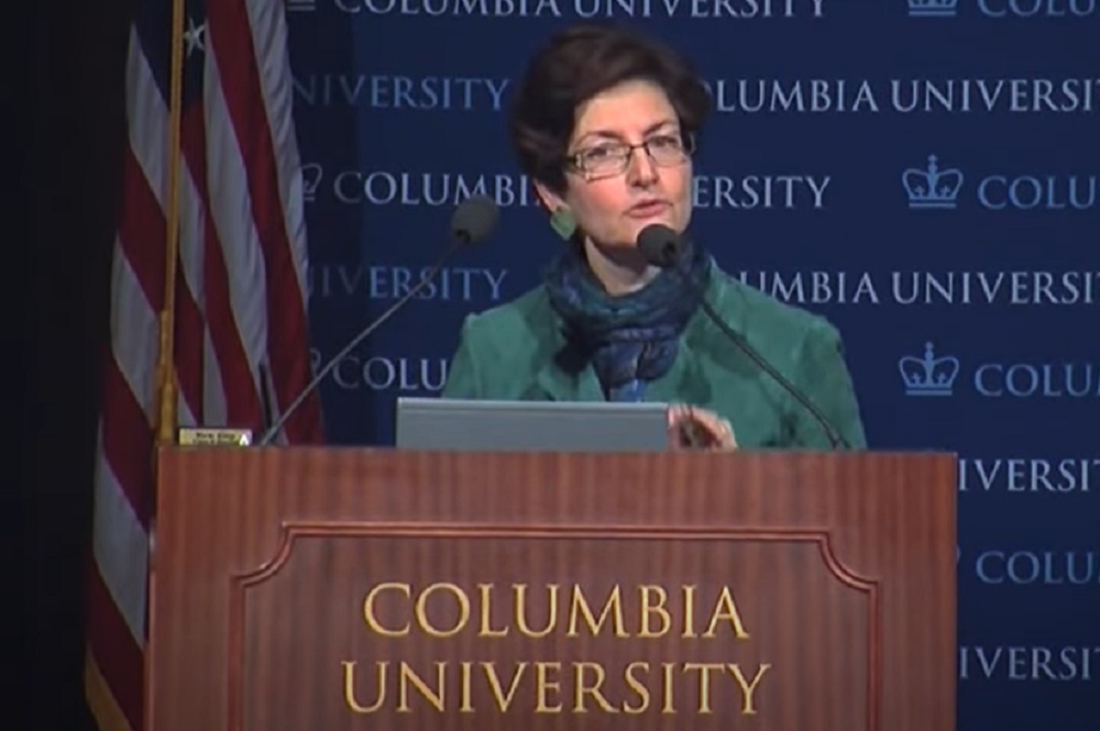 A screenshot of a University of Columbia lecture featuring Dean Linda P. Fried