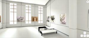 Screenshot of a 3-D, augmented art exhibition.