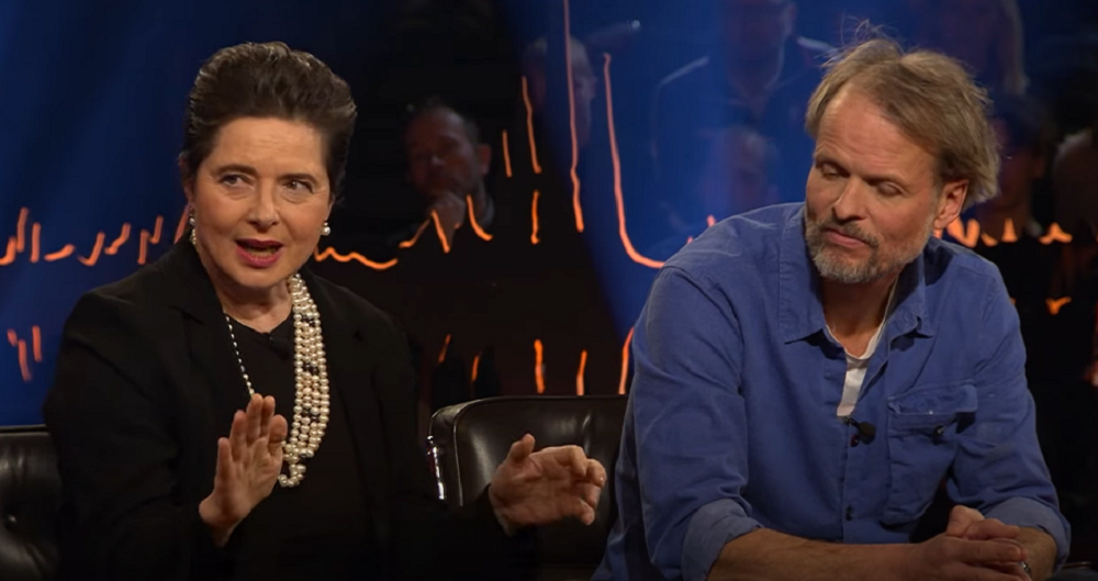 A screenshot of Isabella Rossellini speaking on a talk show.