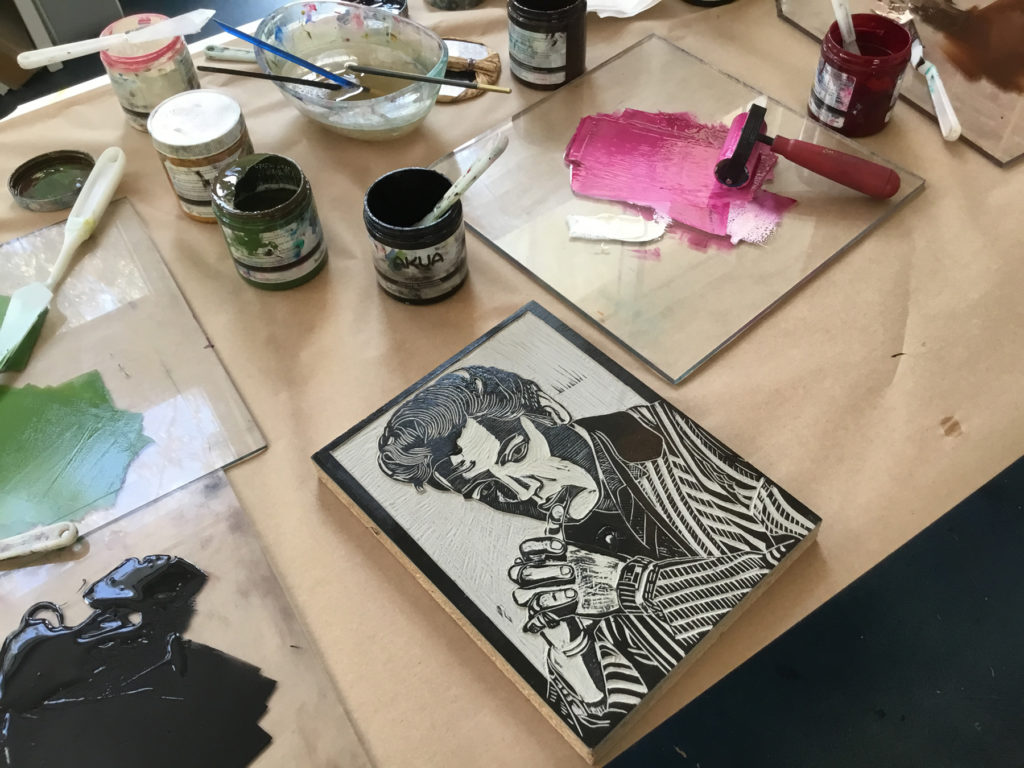 A participants printmaking work inspired by celebrity portraits.