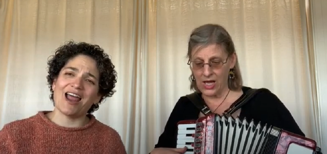 A screenshot of arts instructors at the San Francisco Community Music Center teaching to their older adult students.