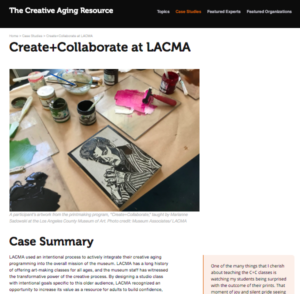 Screenshot of a case study page on the Creative Aging Resource website featuring an image of a carved block of linoleum and printing materials.