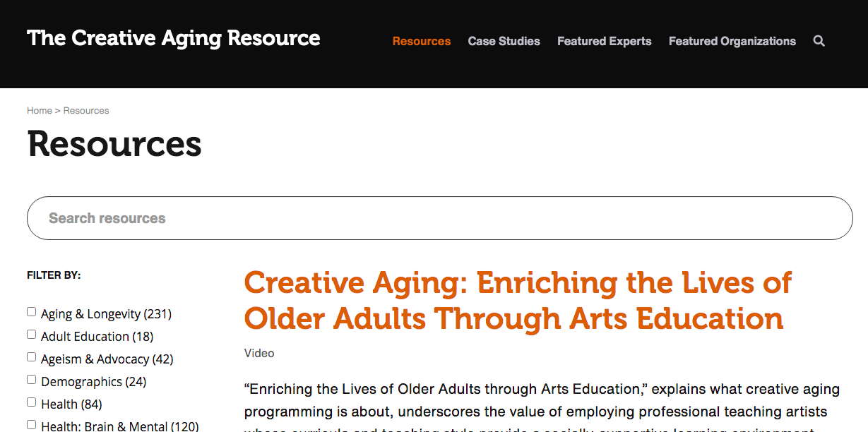 Browse Resources on the Creative Aging Resource