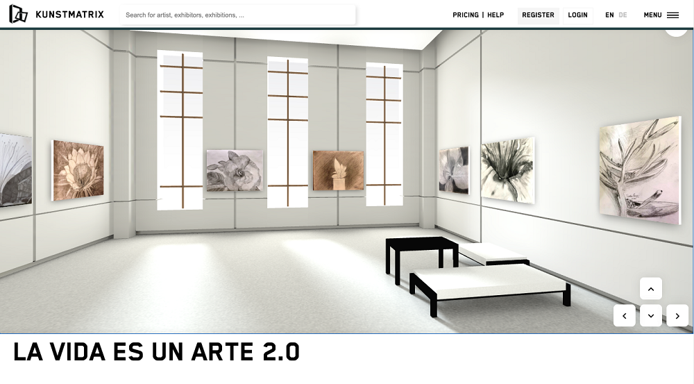 Screenshot of a 3-D, augmented art exhibition.