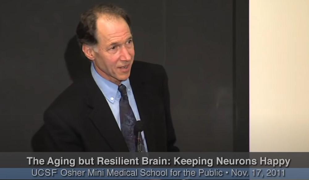 A screenshot of Joel Kramer, UCSF Professor of Neuropsychology giving a presentation.