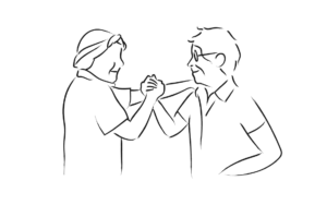 Line drawing of two people clasping hands in solidarity.